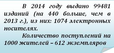 Загнутый угол: В 2014 году выдано 99481 изданий (на 440 больше, чем в 2013 г.), из них: 1074 электронных носителях. Количество поступлений на 1000 жителей – 612 экземпляров